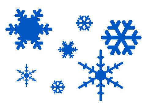Schneeflocken Set auf weißen Hintergrund isoliert