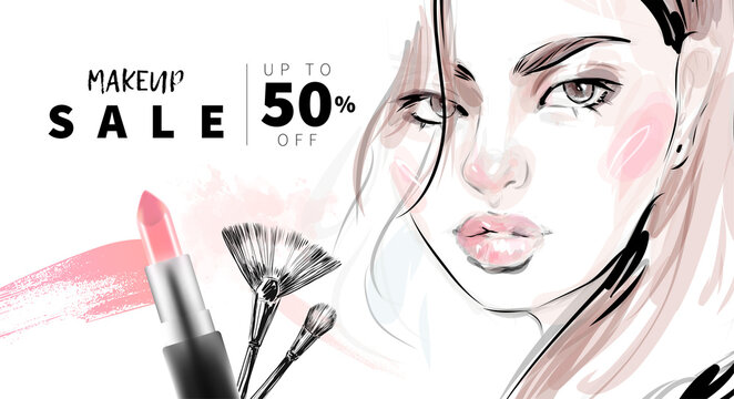 Hand drawn beautiful young woman face makeup with smudged lipstick and brushes vector fashion illustration for cosmetic products sale banner background design, make up artist business card template.