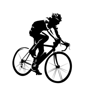 Cycling. Road cyclist side view. Abstract isolated vector silhouette