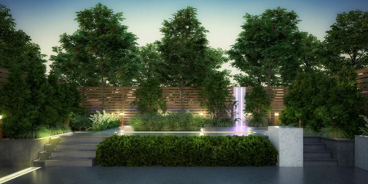 Empty Garden Patio - panoramic 3d visualization