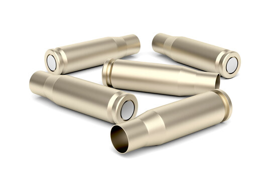Empty bullet cartridges on white background