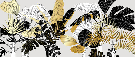 Obraz Luxury gold and black tropical plant background vector. Floral pattern with golden tropical palm, coconut tree, split-leaf Philodendron plant ,Jungle plants line art on white background. - fototapety do salonu