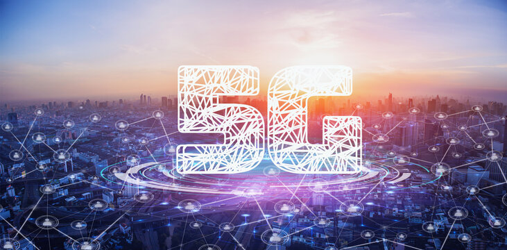 5G network wireless systems. 5G network digital hologram and internet of things on city background.