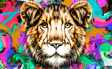 tiger head with color background