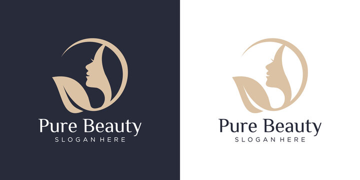 Luxury woman hair salon logo design