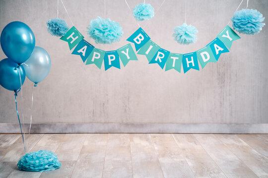 Digitaler Hintergrund digital backdrop für cake smash Geburtstag türkis blau Girlande Happy Birthday Luftballons und Pompons grauer Hintergrund vintage Var. 1