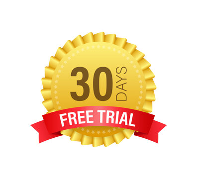 30 days free trial label, badge, sticker. Software promotions for free downloads. It can be used for application. Vector illustration.