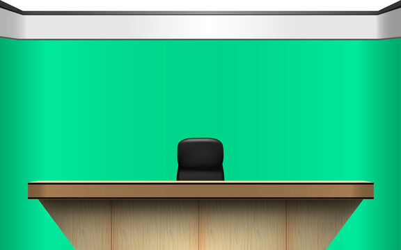 table and chair in news studio room with the green background