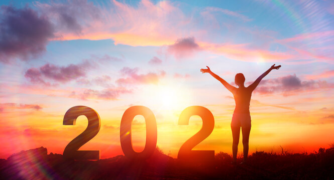 Happy Woman With 2021 Text At Sunrise - Positive New Year - Contain 3d Rendering And Flare Effect