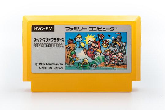 Fukuoka, Japan - june 22, 2019 : Nintendo famicom super mario bros game japanese original 1985 cartridge isolated on white background