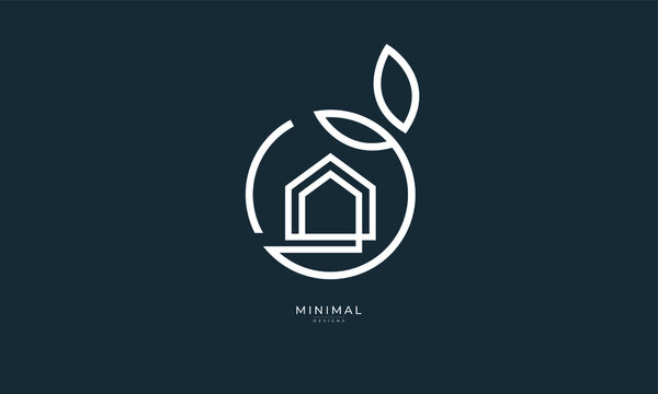A line art icon logo of a house/home with a leaf circle