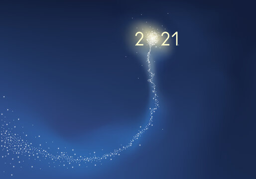 Carte de vœux présentant l'objectif 2021 sous la forme d'une comète explosant en feu d'artifice, symbole de réussite pour la nouvelle année.