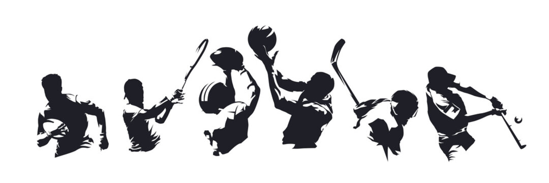 Sports, set of athletes of various sports disciplines. Isolated vector silhouettes. Hockey, football, basketball, rugby, baseball, tennis. Group of people