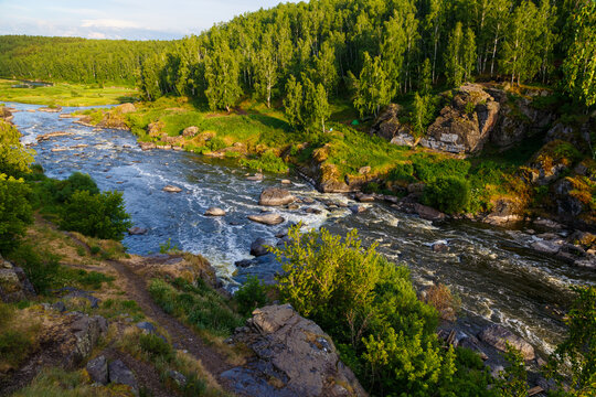 One of the popular tourist places near Yekaterinburg, river Iset threshold revun, a close-up view of the whirlpools and the river