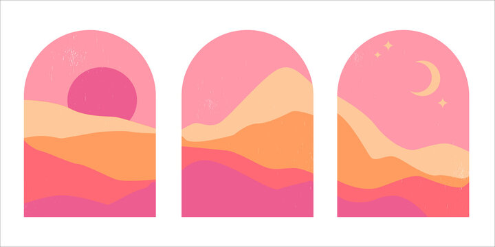 Set of abstract mountain landscapes in arches at sunset with sun and moon in aesthetic minimalist mid century style in pink and sand colors. Background for social media or print.
