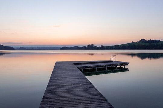 beautiful sunset at the lake mattsee, austria