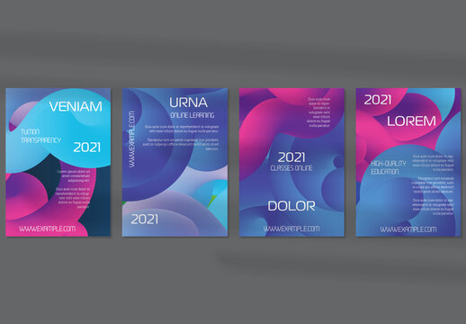 Flyer Layout with Futuristic Wavy Gradient Cloud Shape