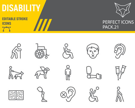 Disability line icon set, disabled people collection, vector sketches, logo illustrations, disability icons, disabled signs linear pictograms, editable stroke.