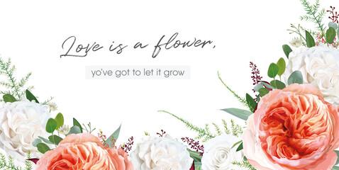 Vector elegant trendy floral watercolor bouquet frame, border design: pale coral Juliette rose flower, ivory white creamy roses, burgundy seeds, Eucalyptus greenery leaves, tender heather, forest fern