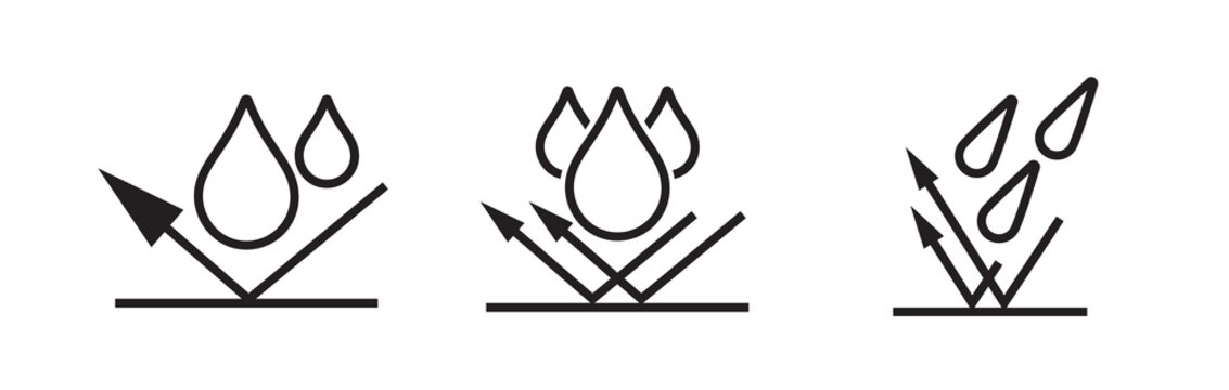 Waterproof icon, water proof drop resistant, vector logo. Impermeable, hydrophobic waterproof fabric arrow icon