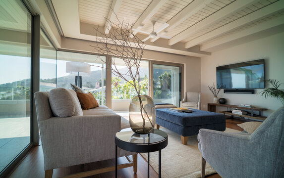 Home showcase interior living room with wood beam ceiling