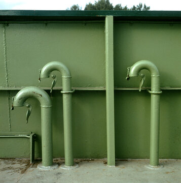 Curved air intake pipes to engine on the Madeline Island Ferry.   Bayfield Wisconsin WI USA
