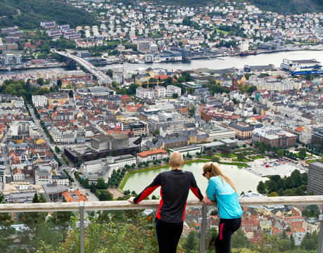 Tourists viewing the city from atop Mount Floyen in Bergen, Norway