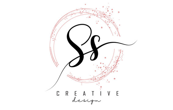 Handwritten SS S S letter logo with sparkling circles with pink glitter.