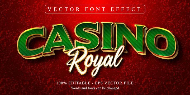Casino Royal  text, golden style editable text effect