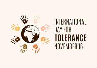 International Day for Tolerance vector. Human hands with different skin colors silhouette vector. Colorful handprints around the planet earth vector. Different colored handprints vector. Important day