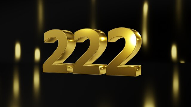 Number 222 in gold on black and gold background, isolated number 3d render