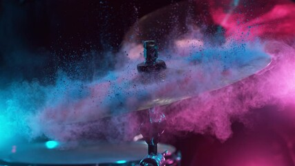 Fototapete - Super slow motion of drummer banging on cymbal with colored powder explosion. Filmed on high speed cinema camera, 1000 fps.