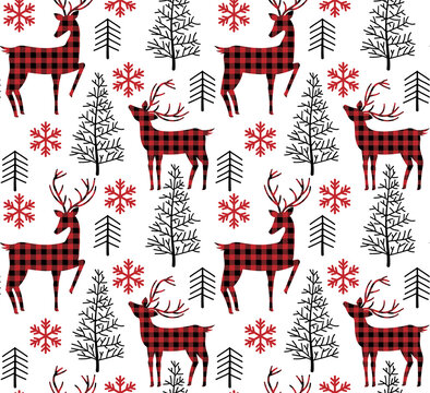 Christmas and New Year pattern at Buffalo Plaid. Festive background for design and print