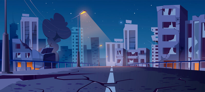 Night city destroy in war zone, abandoned buildings and bridge with smoke and creepy glow. Destruction, natural disaster or cataclysm, post-apocalyptic broken ruined road, cartoon vector illustration