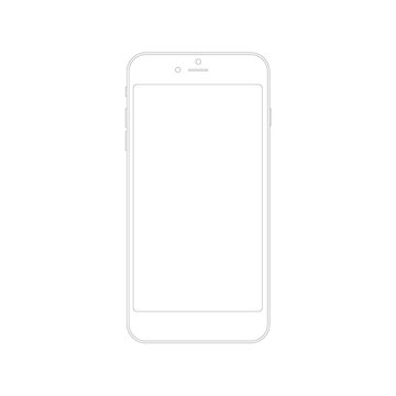 vector image of a white iPhone on a white background