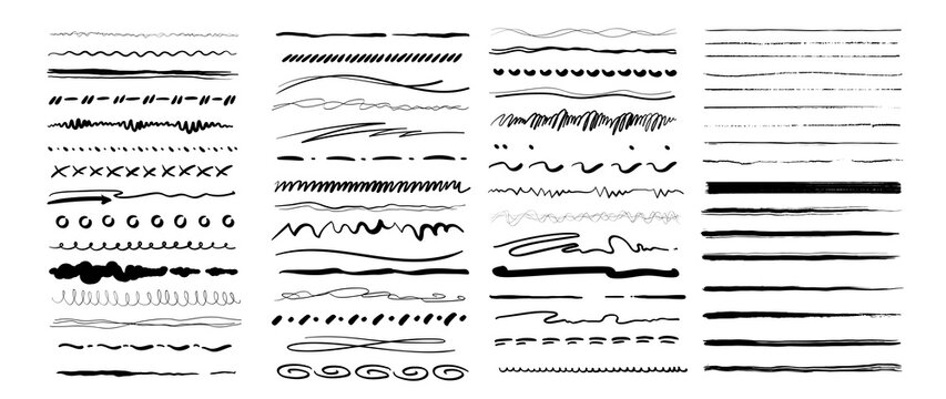 Set of vector grunge brushes. Abstract hand drawn ink strokes. Vintage hand drawn underline border elements, pencil sketch stroke decoration. Vector illustration