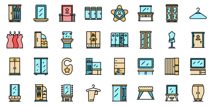 Dressing room icons set. Outline set of dressing room vector icons thin line color flat on white