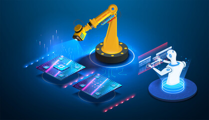 Futuristic microchip processor lights on blue background. Artificial intelligence. Robot  AI control production line on smart factory. Automatization of factory idea. Production of processors, chips