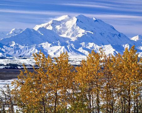 Denali after fall snowstorm;  Denali National Park;  Alaska