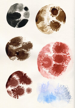 Samples of ink of different brown shades