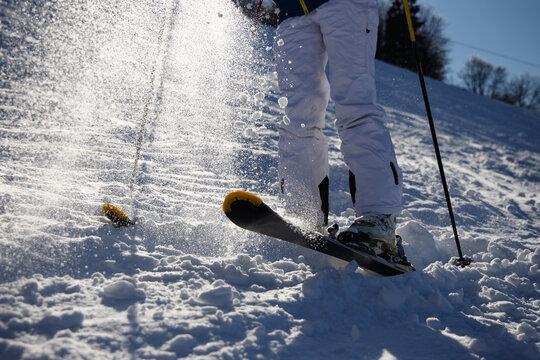 Skier jumping on ski at air.