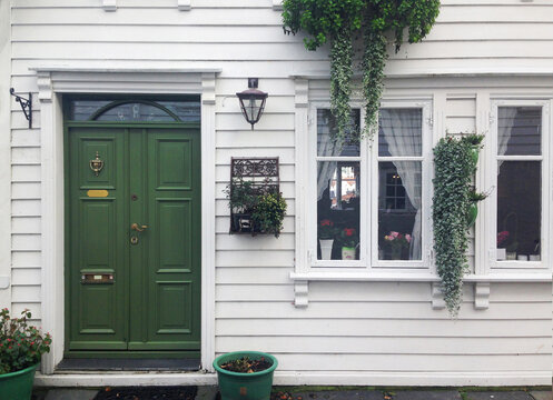 typical home facade entrance door in Norway, Stavanger, scandinavian style