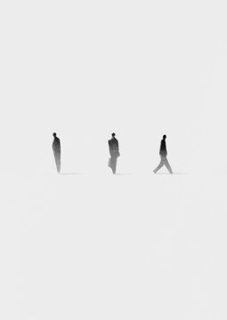 Black silhouettes of people on a white background. Society concept.