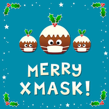 Christmas Puddings Wearing Face Masks Wishing a Merry Christmas