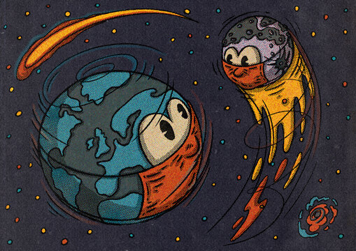 Corona Virus COVID-19 Retro Illustration Of Planets Wearing Masks