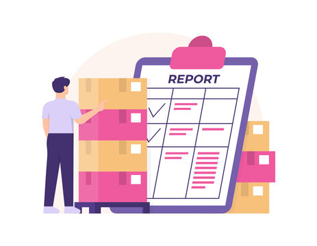 the concept of stock take staff, warehouse admin, goods supervisor. illustration of an employee or male worker counting and reading the inventory report. flat style. design elements
