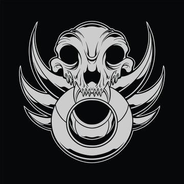 wolf skull illustration