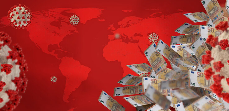 money EUR Euro and the world map and coronavirus covid-19. elements of this image furnished by NASA