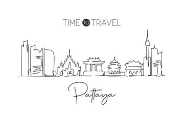 One single line drawing Pattaya city skyline, Thailand. World town landscape home wall decor poster print art. Best place holiday destination. Trendy continuous line draw design vector illustration Wall mural