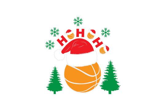 Basketball Christmas Santa Hat Holiday Ho Ho HO SVG, Basketball Christmas Holiday Tshirt, Merry Christmas Basketball Santa, svg